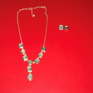 Jewelry - Druzzy Rough Stone Necklace & Earrings